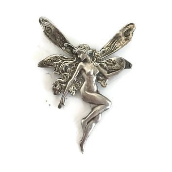 Sterling Silver Fairy Necklace, Woodland Jewelry, Fantasy Jewelry, Fairy Tale Jewelry, Naked Fairy Pendant, Large Fairy Pendant/Brooch