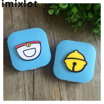 IMIXLOT Plastic Cute Color Small Bell Pocket Pattern Contact Lens Case for Eyes Contact Lenses Box for Glasses