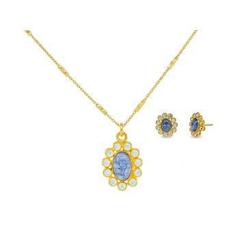 Blue Tanzanite & Crystals Necklace and Earrings