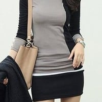 A| Chicloth Color Block Elegant Polyester Round Neckline Long Sleeve Blouses