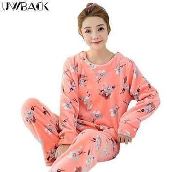 ONETOW Uwback 2017 Winter Brand Pajamas Sets For Women Floral Plush Flannel Sleepwear Femme Animal Coral Fleece Kigurumi Mujer  OB240