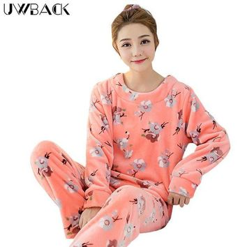 DCCKU62 Uwback 2017 Winter Brand Pajamas Sets For Women Floral Plush Flannel Sleepwear Femme Animal Coral Fleece Kigurumi Mujer  OB240