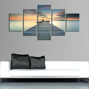 5 Panel Dock Deck Lake Sea at Sunset Wall Art Canvas Panel Print Framed UNframed