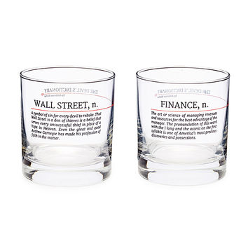 Devil's Dictionary Finance Glasses - Set of 2 | Playful Definition Glasses