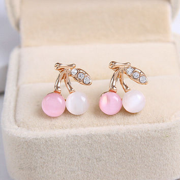 Hot Selling Crazy Feng Beautiful Double Cherry fruit Stud Earrings for Women Jewelry White Pink Stud Earrings Free Shipping