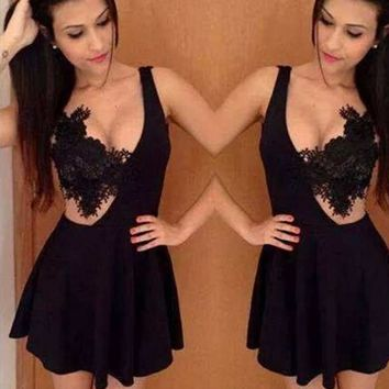 Wedding Party Club Women Sexy Stitching Lace Hook Flowers Dress Hot Girls Deep V-neck Embroidery Floral Lace Crochet Mini Dress