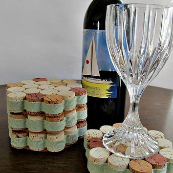 Spring Green Honeycomb Wine Cork Coasters - Mint Green, Spring, Easter, Mother's Day Home Decor - Set of 4