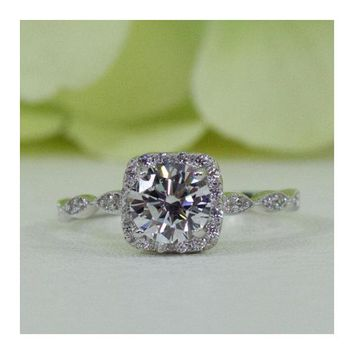 Sterling Silver 1.00 Ct Art Deco Style Halo Cushion Round CZ Promise Ring
