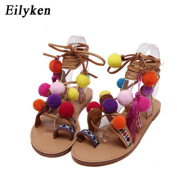 Eilyken Bohemia Style Fringed Pompoms Lady Gladiator Fringed Sandals Shoes Cross Strap tie up Women Flats Sandals size 35-41