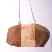 Laminated Wooden Facet Necklace, Facet Necklace, Facet Jewellery, Wooden Necklace, Wooden Jewellery