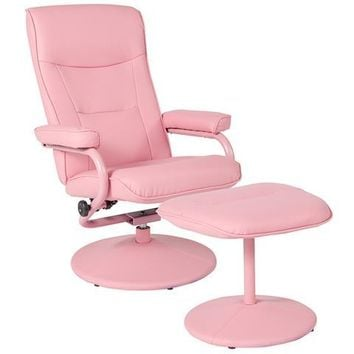 Chelsea Contemporary Recliner and Ottoman in Pink Vinyl