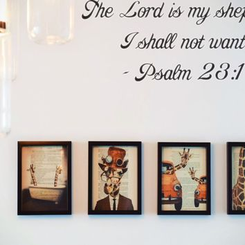 The Lord is my shepherd I shall not want - Psalm 23:1 Style 28 Vinyl Decal Sticker Removable