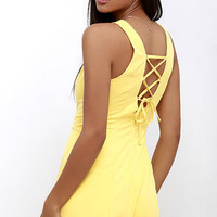 First Place Prize Yellow Lace-Up Romper