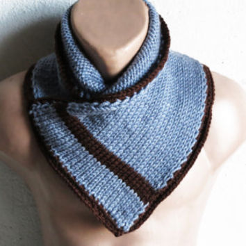 Knitted Neckwarmer Men - Winter Scarf Mens Chunky Cowl, Man, guys, Blue brown striped neckwarmer, Valentine's Gift Men Neckwarmer