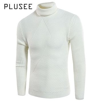 Plusee Men Autumn Sweater Plus Size Black Thermal Turtleneck Knitting Pullovers Sweater Red Warm Knitwear Red Men Autumn Sweater