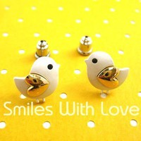 Baby Chick Bird Shaped Animal Stud Earrings with Heart Shaped Wings