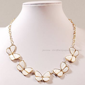 White Bib Necklace, White Resin Beads Necklace, Bib Bubble Necklace, Statement Necklace (FN0644-White)