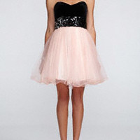 Strapless Velvet Bodice and Tulle Skirt Dress