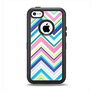 The Vibrant Colored Chevron Pattern V3 Apple iPhone 5c Otterbox Defender Case Skin Set