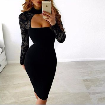 Lace Top Straight Lined Dress