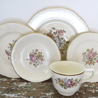 Cottage Chic Plate Set Dinner Plates Dinner Set Floral Shabby Decor Chippy Dishes