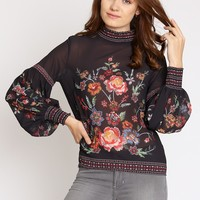 Aliana Floral Mock Neck Top