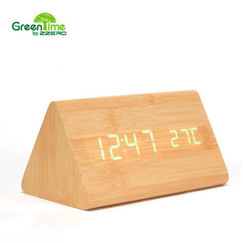 2016 Acoustic Control Sensing LED Digital Alarm Clock Modern Calendar  Bamboo Table Night Clock Electronic Desk Clock CYP-011