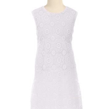 Girls White Floral Lace Sleeveless Shift Dress with Open Back 2T-10