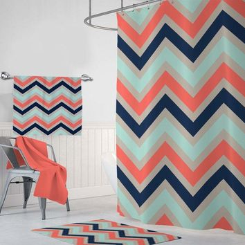 Chevron SHOWER CURTAIN, Coral Aqua Navy Beige Bathroom Decor, Personalized Dorm Shared Bathroom Decor Chevron Pattern Bath Towel Bath Mat