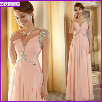 2014 Free Shipping - Pink with Cap Sleeve Floor Length Beaded Sequins Crystal Formal A Line Empire Maternity Bridesmaid Dresses