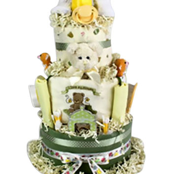 Newborn Baby Shower Gift 3 Tiered Diaper Cake- Neutral