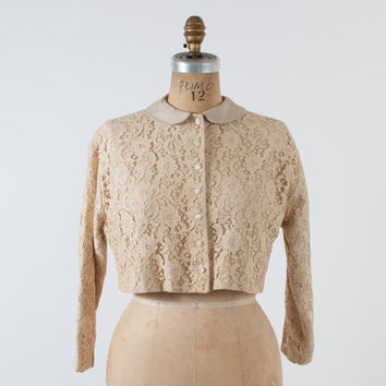 Vintage 50s LACE JACKET / 1950s Ivory Lace Peter Pan Collar Cropped Blazer Blouse S - M