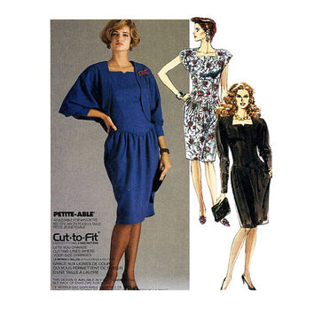 McCalls 4022 COCKTAIL DRESS & JACKET Pattern Cropped Cocoon Jacket Shrug Drop Waist Dress Size 12 14 16 UNCuT Womens Sewing Patterns