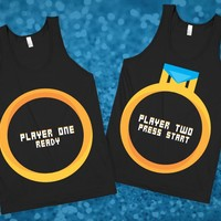 Player 1 & Player 2 8bit Wedding Ring Tanks