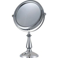 """E-ware Elegant 9k007a1 Double-sided 1x/10x Makeup Table Top Mirror, 7"""", Mental with Satin Nickel Finish, Time Setting Clock with LCD Display for Masks, Travel Bag Included"""