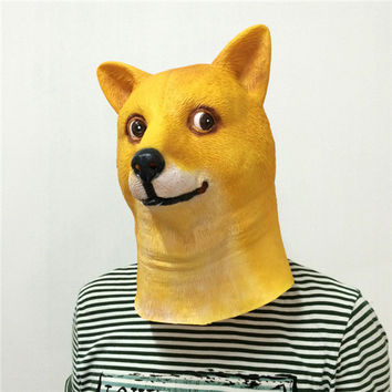 Hot Super Creepy Funny Head Doge 3D Latex Mask Cosplay Halloween Costume Party Halloween Decorations free shipping FA02