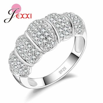 JEXXI Unique Design Full Clear Micro Cubic Zirconia Wedding Engagement 925 Sterling Silver Rings For Woman Bridal Bands Jewelry