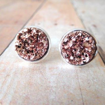 R O S E Y  - Rose Gold Chunky Sparkle, Faux Druzy, Silver Plated Stud Earrings, 12mm