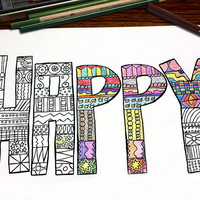 Color Me Happy Coloring Page for Adults, Handdrawn Coloring Page, Word, Pattern, Relaxation - INSTANT DOWNLOAD - 1 pdf, 1 jpg