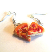 Pepperoni Pizza Dangle Earrings, Polymer Clay Food Jewelry
