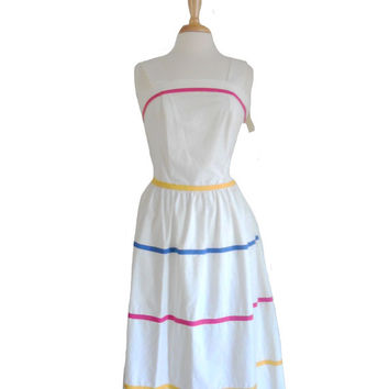 Vintage Summer Dress 1980s Sundress New Old Stock White with Thin Stripes Neon Pink Blue and Yellow - Fit and Flare - Possibilites - Size 12