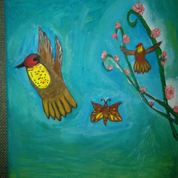 Ruby Topaz Hummingbird Acrylic Painting on Canvas with Red and Yelllow Butterfly amd Pink Flowers Nature Lovers