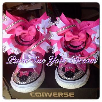 Custom Minnie Mouse Crystal Rhinestone Converse Shoes - Minnie Mouse Birthday - Minnie