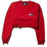 ICIKNQ2 Tommy Hilfiger Casual Long Sleeve Crop Top Sweater Pullover-1