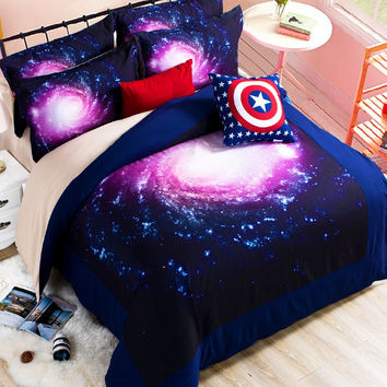 Beautiful sky Hipster Galaxy 3D Bedding Sets  2/3pcs  Duvet cover Bed Sheet  Fitted  Sheet pillowcase Twin queen king size