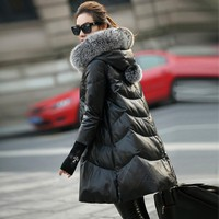 6XL Real Fox Fur Women Winter Coat 2018 New Sheepskin Leather Female Jacket White Duck Down Hoodies Long Warm Women Outwear G01