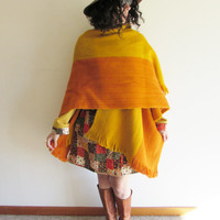 Vintage Orange and Mustard Yellow Ethnic Wool Hippy Boho Blanket Wrap Poncho