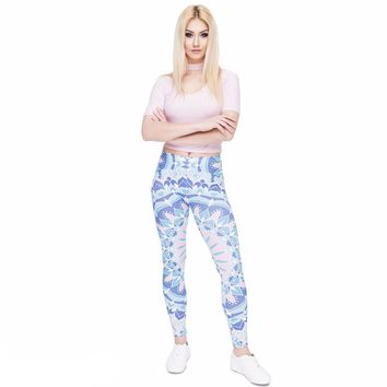 Blue Symmetrical Leggings