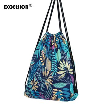 Flower Print Canvas Drawstring Backpack
