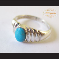 P Middleton Turquoise Ripple Ring Sterling Silver 925